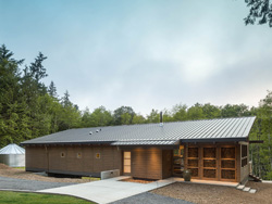 Image of Front elevation of Raindrop Wrangler house in San Juan Islands, Washington