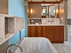 Image of new master bathroom tub and vanity in bathroom remodel designed by residential architecture firm Donnally Architects in the neighborhood of Capitol Hill in Seattle, Washington