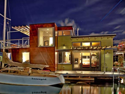 Image of north facade design of floating home remodel and addition performed by residential architecture firm Donnally Architects in Seattle Washington