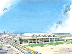 Rendering from the south of the design for the Wildwood Convention Center