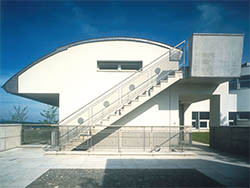 Image of side stair and service entrance in a modern home design in Switzerland